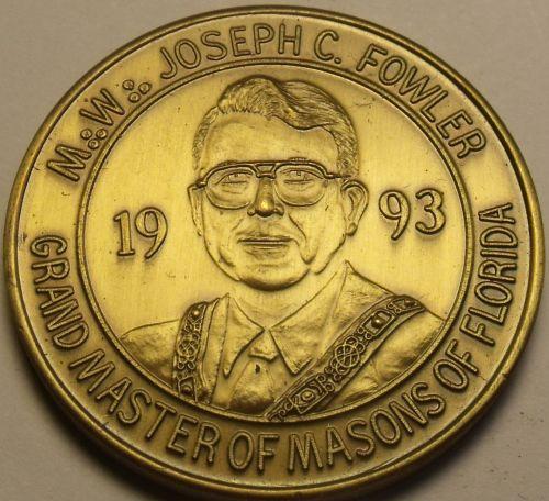 1993 Large 39.1mm Solid Bronze Grand Master Of Masons Of Florida Medallion~Fr/Sh