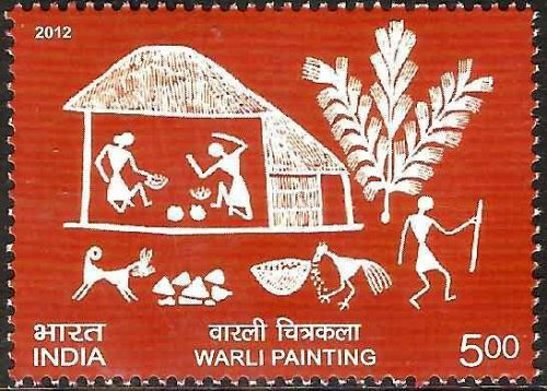 India Stamp 2012 MNH on depicting Warli Paintings.