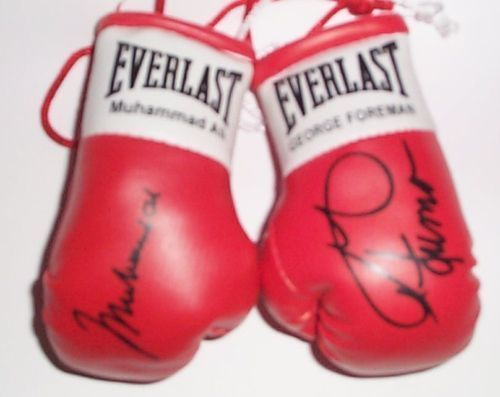 Ali V Forman Autographed mini Boxing gloves (highly collectable)