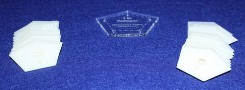 """Mylar 1"""" & 2"""" Sides - Pentagon 102 Piece Set - Quilting / Sewing Templates -"""