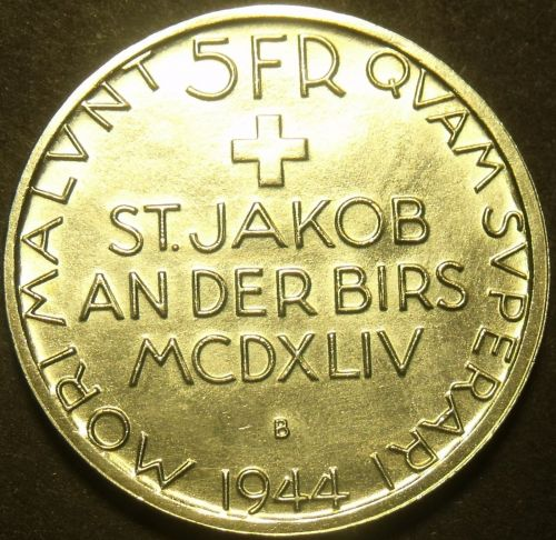 Switzerland 1944-B 5 Francs Silver Unc~Battle of St. Jakob An Der Birs~Free Ship