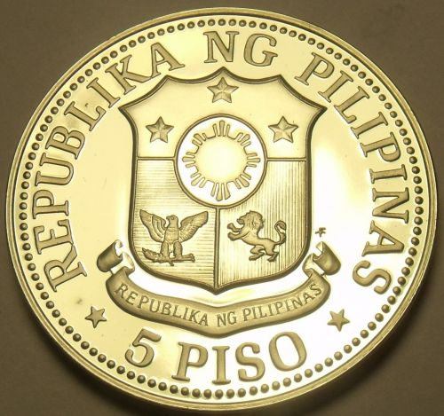 Philippines 1975 5 Piso Proof~Large~37,000 Minted~Fernidad Marcos~Free Shipping