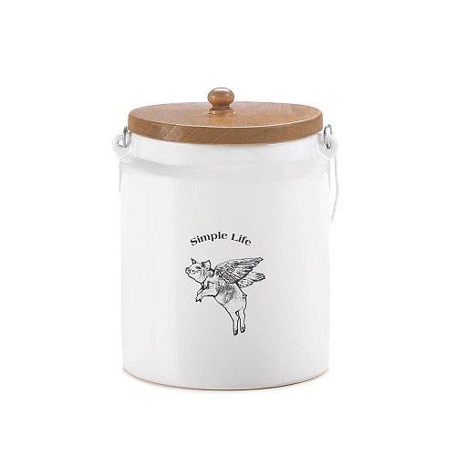 *17455U - Flying Pig White Dolomite Storage Canister Simple Life