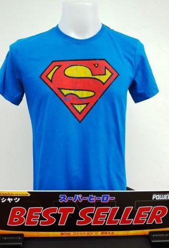 Superman blue and red logo Cotton T-Shirt Super Hero Dccomics,Warner Bros.