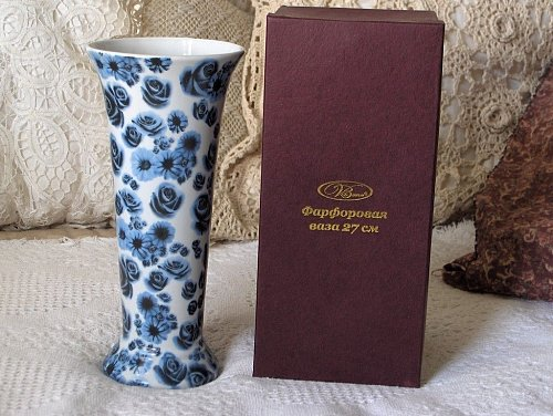 VA BENE Dark Blue Transfer Decorated Flower Vase Flawed Used