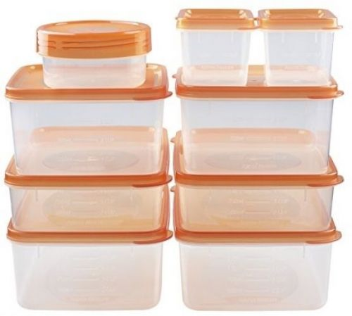 Hölm BPA Free Reusable Square Food Storage Containers With Lids (Orange) ? -