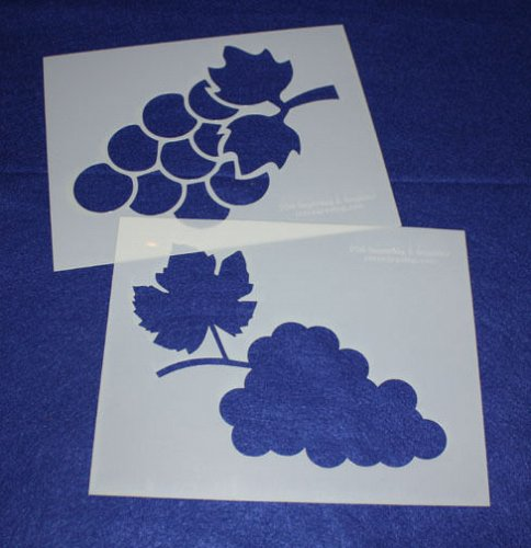 Large Grape Stencils - Painting/Crafts/Stencil/Template 2 Pc Set -Mylar 14 Mil