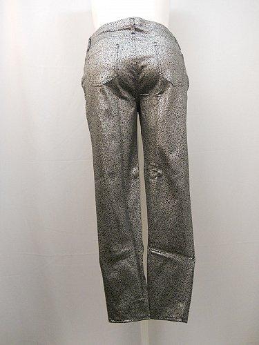 Women Coated Jeggings Size XXL 20 Foil Print Back Pockets Silver Skinny legs
