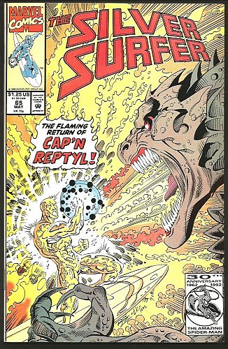 Silver Surfer #65 VF+/NM+ Marvel Comics 1992 TOM CHRISTOPHER INKS Capt. Reptyl
