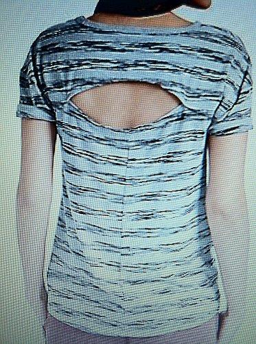 Lucky Brand Women`s Medium Open Back Striped Grey and Black Tee