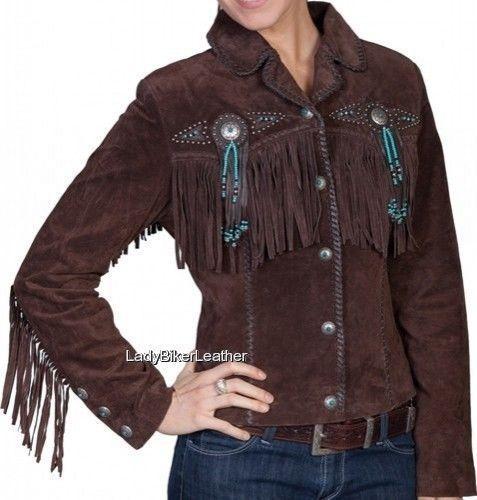 LADIES Beaded WESTERN Fringe BROWN or GRAY Premium SUEDE Leather Jacket CONCHOS