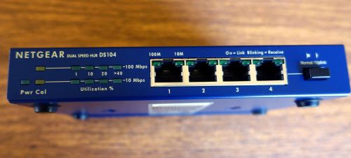 DS104 NETGEAR Dual Speed Hub ethernet switch 10/100 MBPS 4port UPLINK 10/100