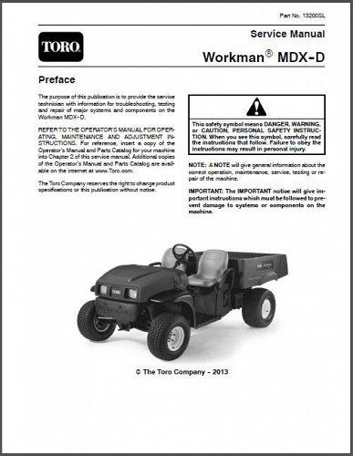 Toro Workman MDX-D Utility Vehicle with Kubota Diesel Engine Service Manual CD