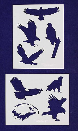 American Bald Eagle Stencils-2 pc Set-14 Mil Mylar- Painting/Crafts/Template