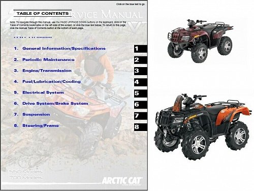 2012 Arctic Cat 550 Models / 700 Models ATV Service Repair Manual CD