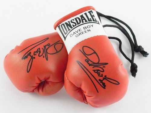 Autographed Mini Boxing Gloves Dave Boy Green