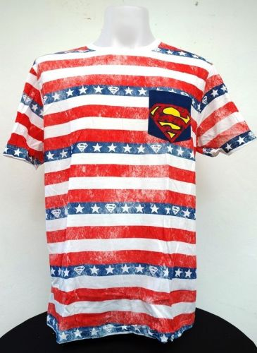 Superman Blue Red Cotton T-Shirt Super Hero Dccomics,Warner Bros free shipping
