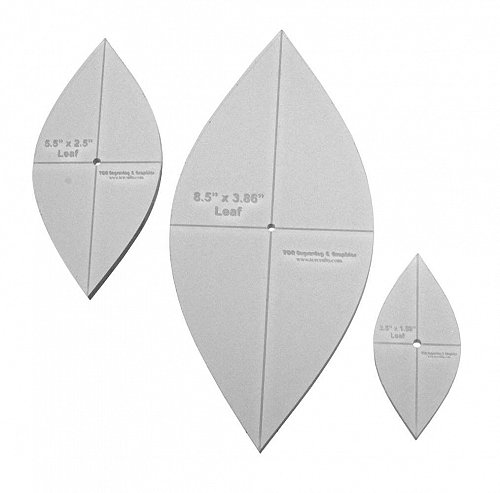 """3 Piece Quilting Leaf Templates -1/4 """" w/ Center Hole & Cross Hairs -Acrylic"""