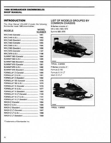 1996 Ski-Doo MX Z Summit Formula Scandic Mach Snowmobiles Service Manual on a CD