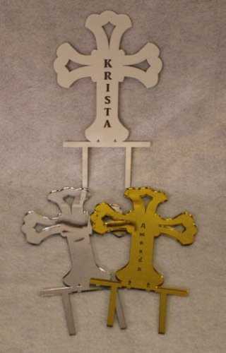 """Cross Cake Topper - 1/8"""" Acrylic - Confirmation-1st Communion -FREE engraving!"""