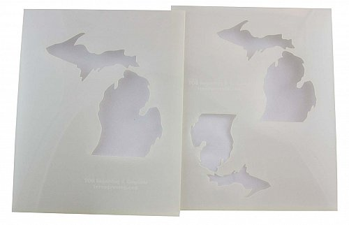 """State of Michigan 2pc Stencil Mylar 14 Mil- 4"""", 5"""", 6"""" Paint /Crafts/ Template"""