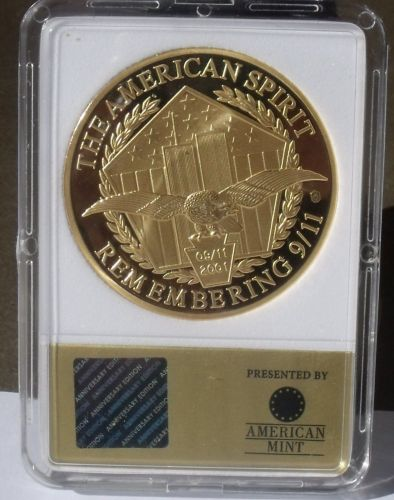 Remembering 9/11 24k Gold Plated Proof 40mm Medallion~The American Spirit