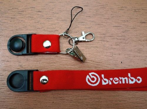 BREMBO RED NECK LANYARD KEYCHAIN CELL PHONE HOLDER KEY