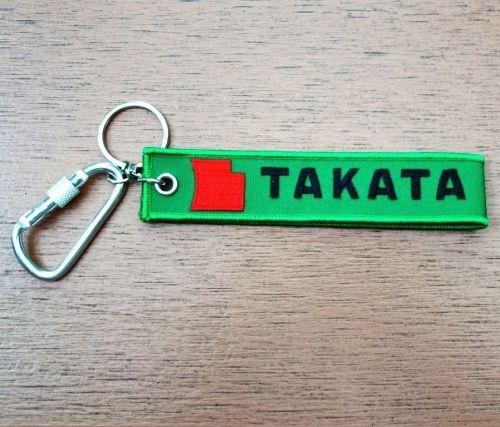 TAKATA Keychain Keyring Key Holder Embroidered Fabric Strap Tag Motorcycle