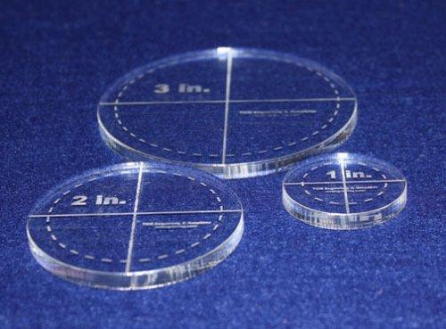 "Laser Cut Quilt Templates- 3 Piece Circles 1"", 2"", 3"" w/seam Clear Acrylic 1/4"""
