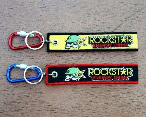 Rock star Keychain Keyring Key Holder Embroidered Fabric Strap Motorcycle ATV