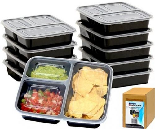 10 Pack - SimpleHouseware 3 Compartment Meal Prep Food Storage Container Bento