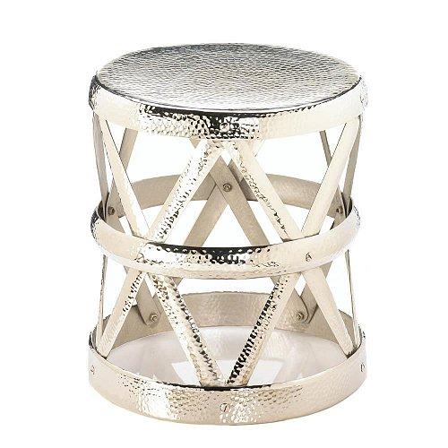 *17570U - Hammered Aluminum Drum Decorative Foot Stool Accent Table