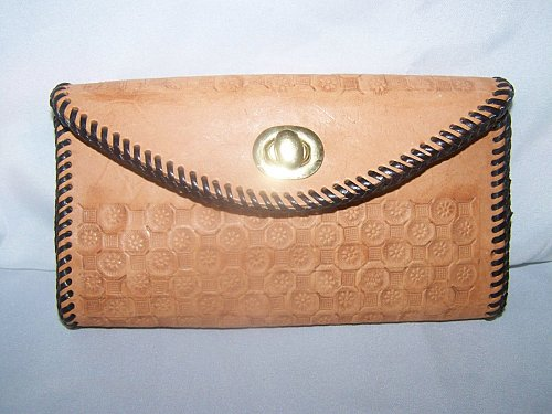 Womens Leather Wallet~Hand Tooled~Checkbook Style with Coin Section