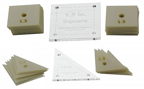 """Mylar 1.5"""" Square & 1.5"""" Right Triangle 102 pc - Quilting / Sewing Templates -"""