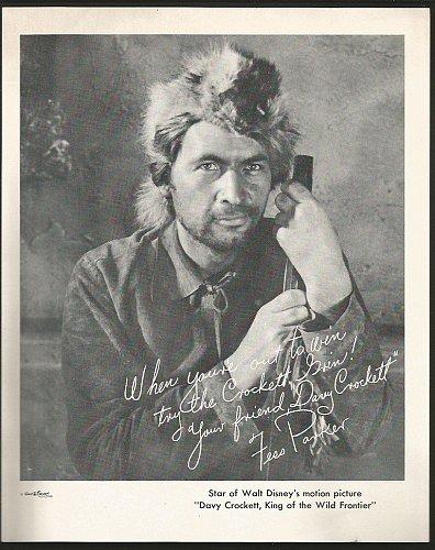 Fess Parker Davy Crockett Walt Disney Print B&W OLD 8x10 Still
