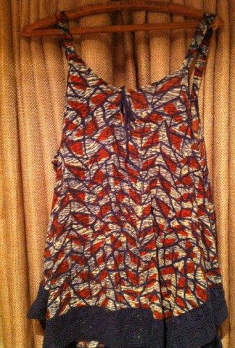 Lucky Brand Women's Print XL Swing Tank With Lace Trim NWT #7W62603