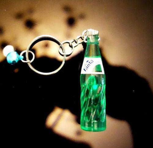 1 GREEN FANTA SMALL BOTTLES COLLECTIBLE MINIATURE KEY RINGS KEY CHAIN
