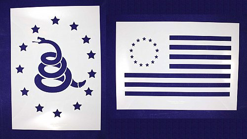 LG-Don't Tread on Me/Revolutionary War 2 PC Stencil Set Painting/CraftsTemplate