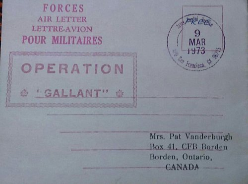 Canada 1973 Pour Militaires Used Operation Gallant Forces Air Letter