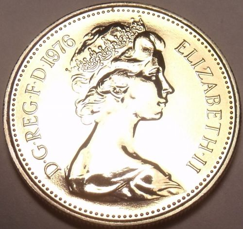 Great Britain 1976 5 New Pence Proof~100,000 Minted~Scarce