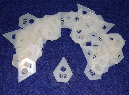 "Mylar 1"" Hexagon & 1/2"" Starpoint 102 Piece Set - Quilting / Sewing Templates -"