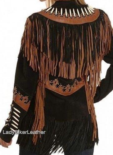 LADIES BIKER Black & Brown SUEDE Leather WESTERN Indian FRINGE Motorcycle Jacket