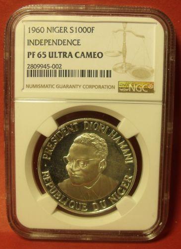 Niger 1960 Silver 1000 Francs~RARE~Independence~NGC PF-65 Ultra Cameo~Free Ship