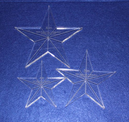 """3 Piece Set Quilt Stars 3/8 """" 4"""",5"""",6"""" with Center Hole & Guidelines-Longarm"""