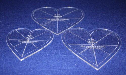 "3 piece Heart Set w/guidelines & Seam allowance - 1/8"" Acrylic-Clear -"