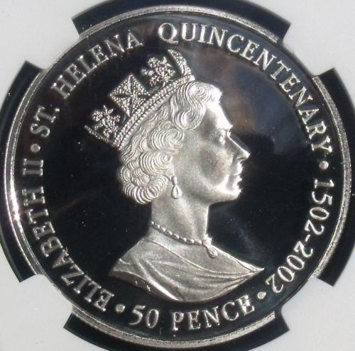 Saint Helena 2002 Silver 50 Pence~James Cook 500th Anniv~NGC PR-68 UC~Highest~FS