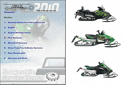 2010 Arctic Cat All Snowmobile Models Service Manual on a CD
