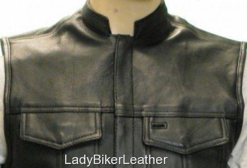 Mens BIKER Black PREMIUM Leather CONCEALED CARRY Motorcycle CLUB Vest HI COLLAR