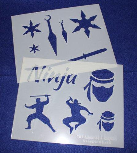 2 Pc Set -Mylar 14 Mil Ninja Stencils Painting/Crafts/Stencil