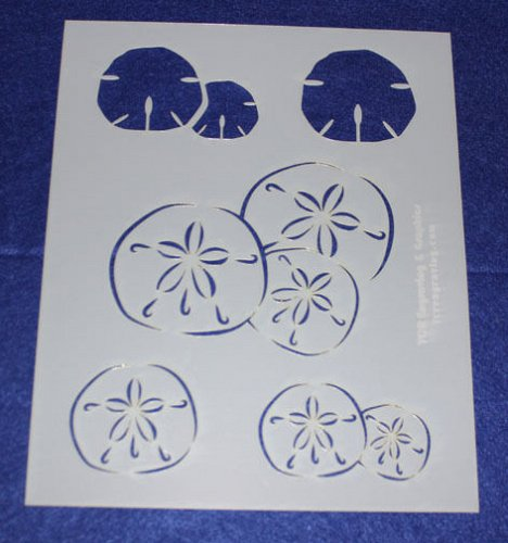 2 Piece Set -Mylar 14 Mil Sand Dollar Painting/Crafts/Stencil/Template -